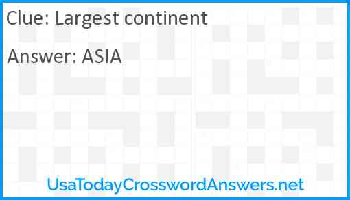 Largest continent Answer