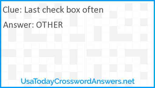 Last check box often Answer