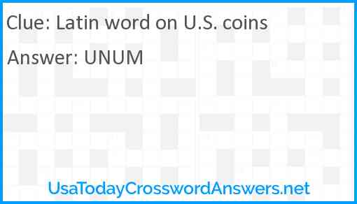 Latin word on U.S. coins Answer