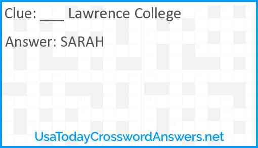 ___ Lawrence College Answer