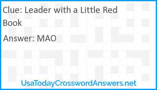 Leader with a Little Red Book Answer