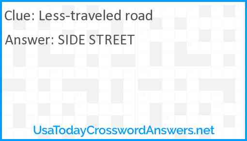 Less-traveled road Answer