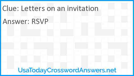 Letters on an invitation Answer