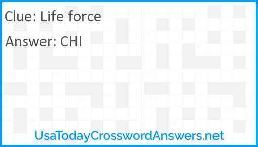 Life force Answer