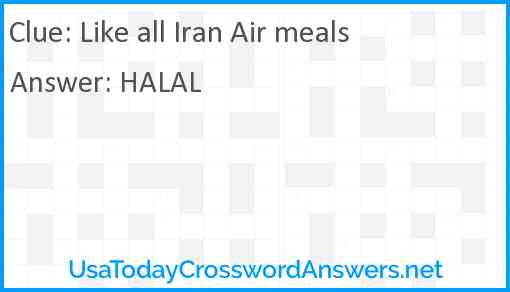 Like all Iran Air meals Answer