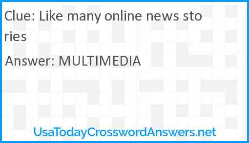 Like many online news stories Answer