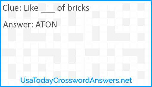 Like ___ of bricks Answer