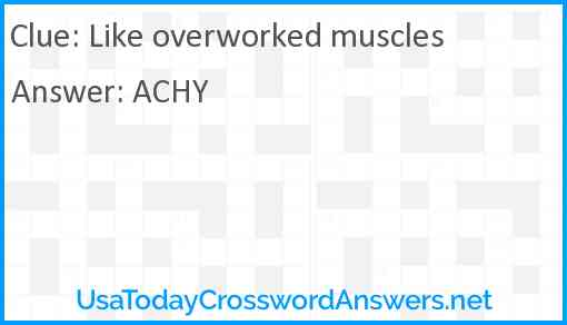 Like overworked muscles Answer