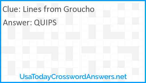 Lines from Groucho Answer