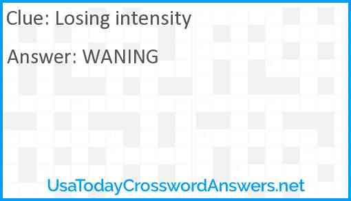 Losing intensity Answer