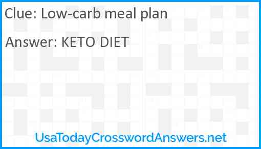 Low-carb meal plan Answer