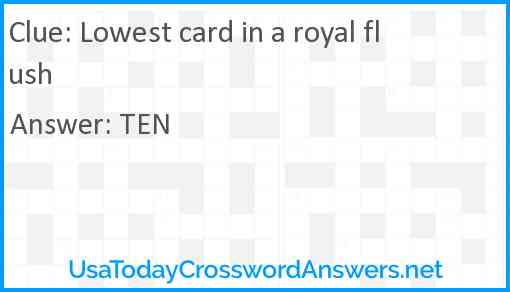 Lowest card in a royal flush Answer