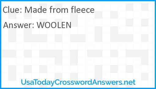 Made from fleece Answer