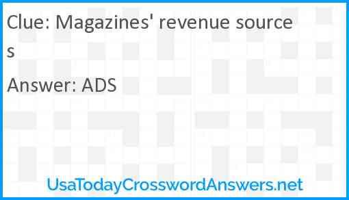 Magazines' revenue sources Answer