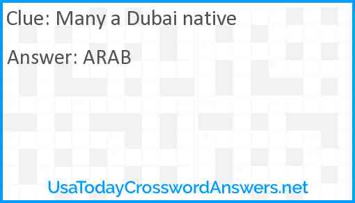 Many a Dubai native Answer