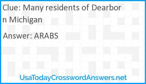 Many residents of Dearborn Michigan Answer