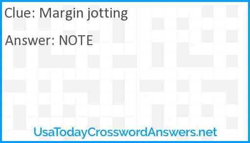 Margin jotting Answer