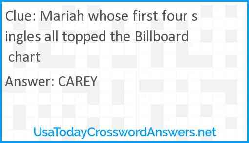 Mariah whose first four singles all topped the Billboard chart Answer