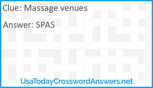 Massage venues Answer