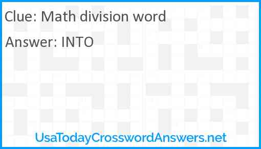 Math division word Answer