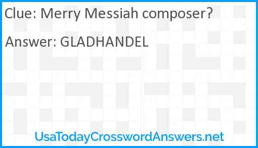Merry Messiah composer? Answer