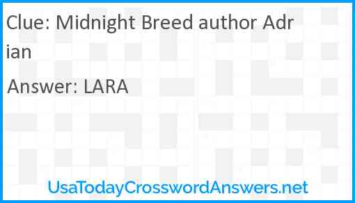 Midnight Breed author Adrian Answer