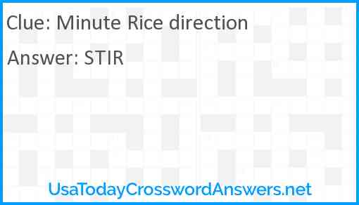 Minute Rice direction Answer