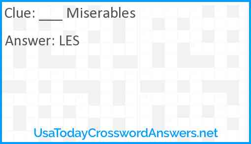 ___ Miserables Answer