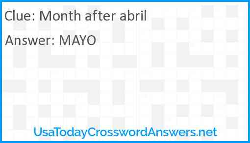 Month after abril Answer