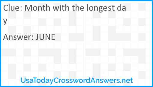 Month with the longest day Answer