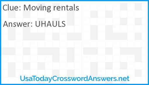 Moving rentals Answer