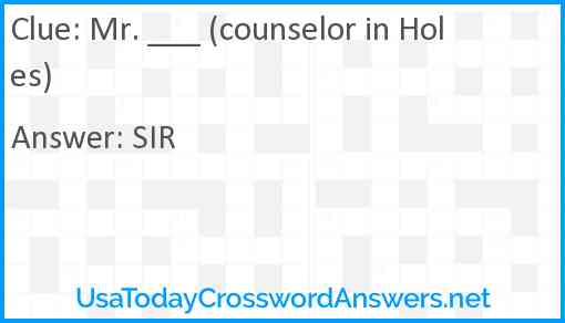 Mr. ___ (counselor in Holes) Answer