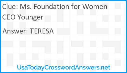 Ms. Foundation for Women CEO Younger Answer