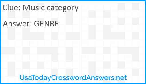 Music category Answer