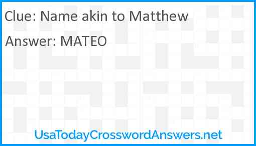 Name akin to Matthew Answer