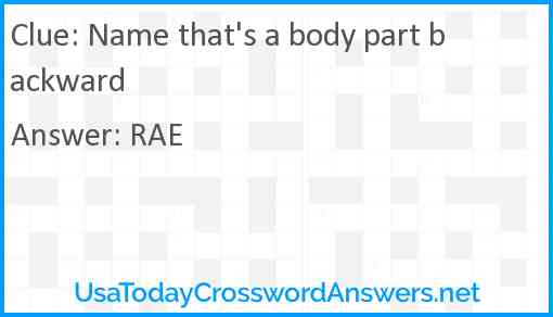 Name that's a body part backward Answer