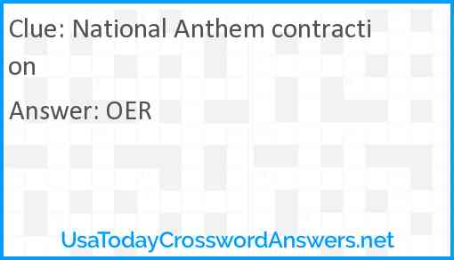National Anthem contraction Answer