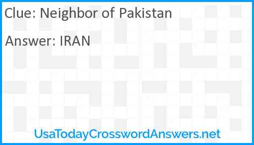 Neighbor of Pakistan Answer
