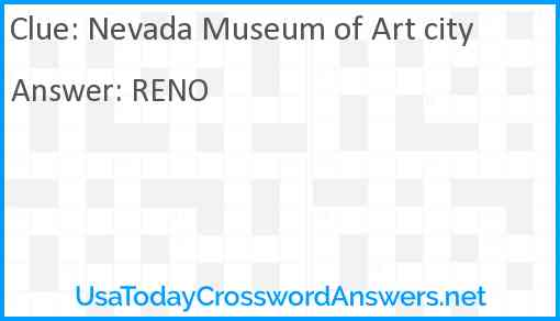 Nevada Museum of Art city Answer