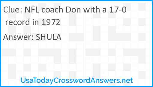 NFL coach Don with a 17-0 record in 1972 Answer