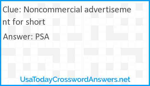 Noncommercial advertisement for short Answer