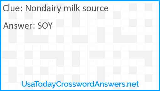 Nondairy milk source Answer