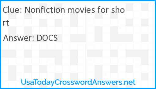 Nonfiction movies for short Answer