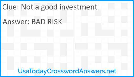 Not a good investment Answer