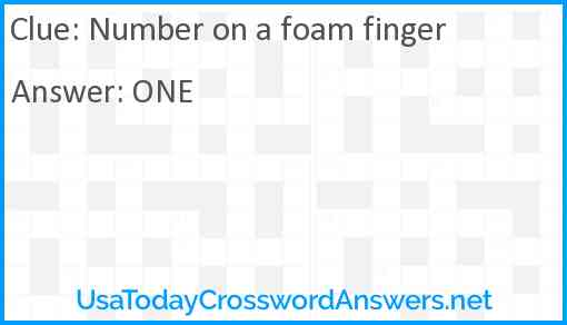 Number on a foam finger Answer