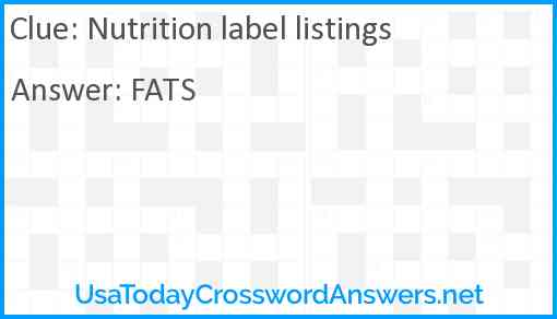 Nutrition label listings Answer