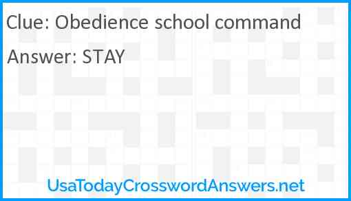 Obedience school command Answer
