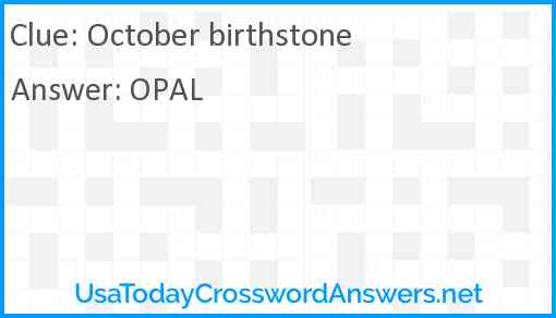 October birthstone Answer