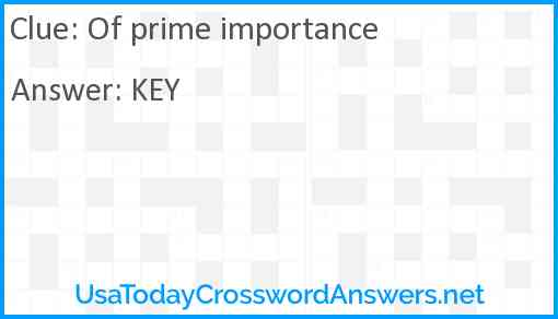 Of prime importance Answer