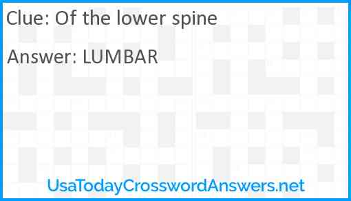 Of the lower spine Answer
